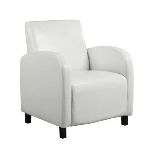 """32.5"""" White and Black Upholstered Solid Accent Armchair - IMAGE 1"""