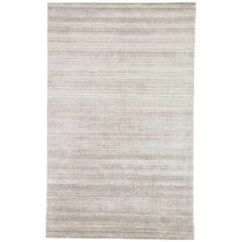 9' x 12' Gray and White Contemporary Hand Woven Rectangular Area Throw Rug - IMAGE 1