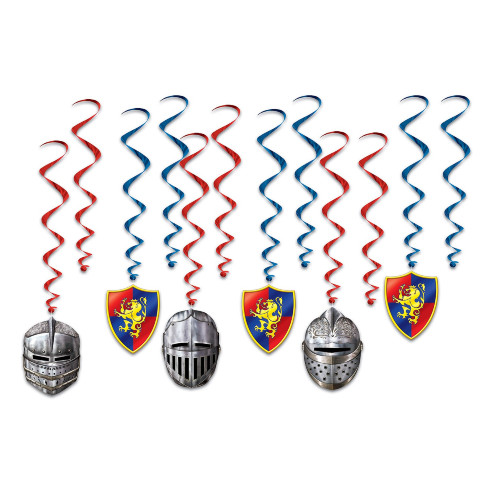 """Set of 72 Silver Helmet and Shield Entertainment Whirls 30"""" - IMAGE 1"""
