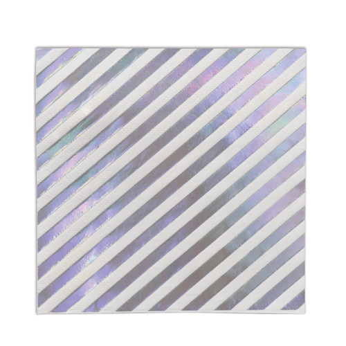 """Pack of 12 White and Purple Iridescent Striped 2-Ply Beverage Napkins 6.5"""" - IMAGE 1"""
