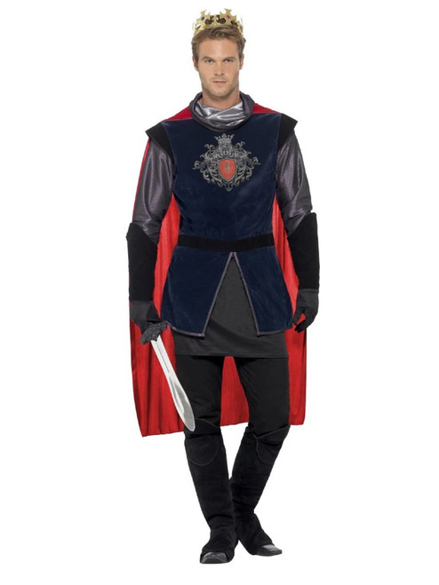 """40"""" Black and Red King Arthur Deluxe Men Adult Halloween Costume - Large - IMAGE 1"""