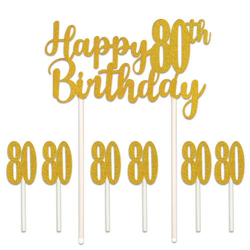 """Set of 12 Gold Happy 80th Birthday Cake Topper 8.25"""" - IMAGE 1"""