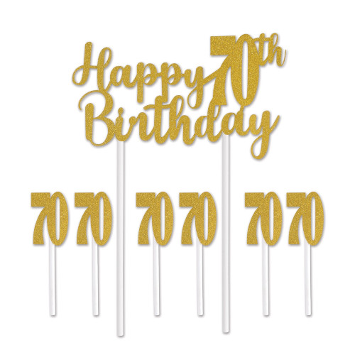 """Set of 12 Gold Happy 70th Birthday Cake Topper 8.25"""" - IMAGE 1"""