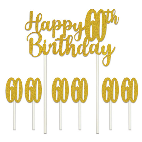 """Set of 12 Gold Happy 60th Birthday Cake Topper 8.25"""" - IMAGE 1"""
