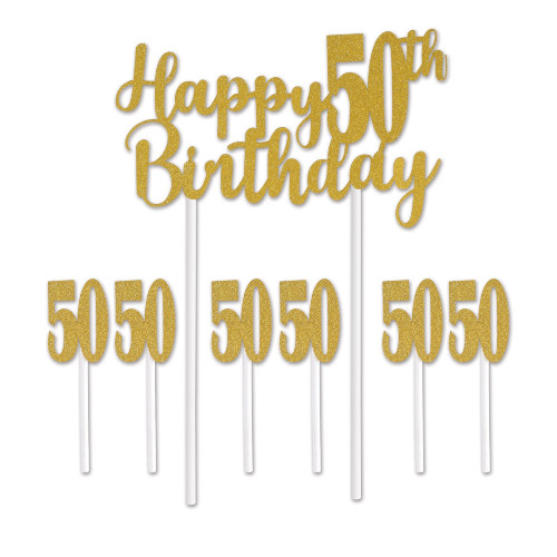 """Set of 12 Gold Happy 50th Birthday Cake Topper 8.25"""" - IMAGE 1"""