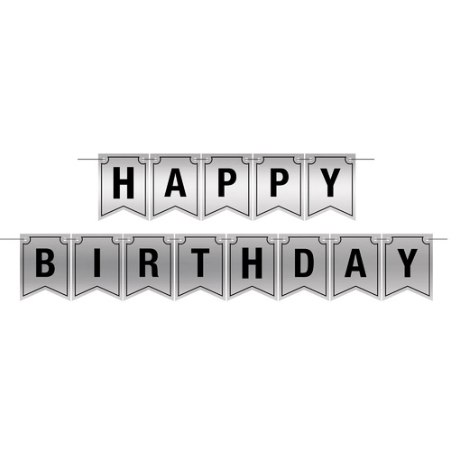 Set of 12 Foil Happy Birthday Party Hanging Banner Streamer 12' - IMAGE 1