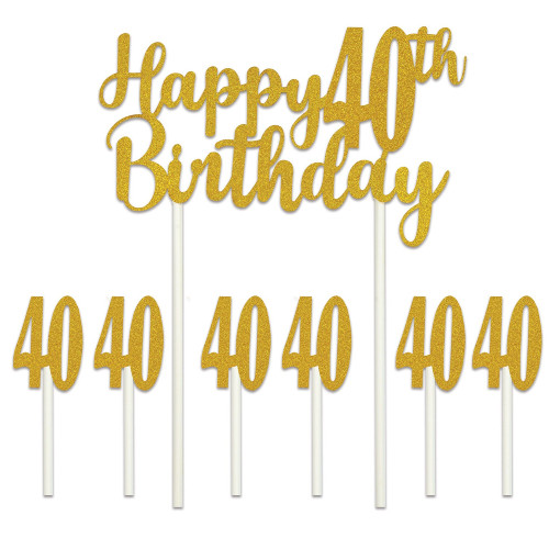 """Set of 12 Gold Happy 40th Birthday Cake Topper 8.25"""" - IMAGE 1"""