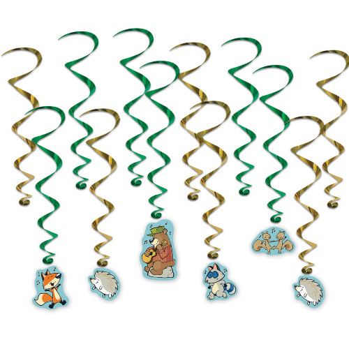 """Set of 72 Woodland Friends Entertainment Ceiling Whirls 28.5"""" - IMAGE 1"""