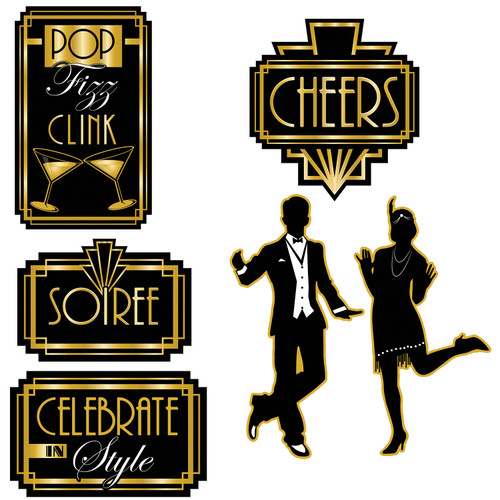 """72-Pieces Black and Gold Great 20's Soiree Cutouts Decorations 16"""" - IMAGE 1"""
