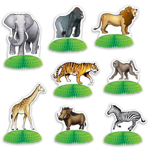 "5.50"" Multi-color Jungle Safari Animal Mini Centerpieces - 96ct - IMAGE 1"