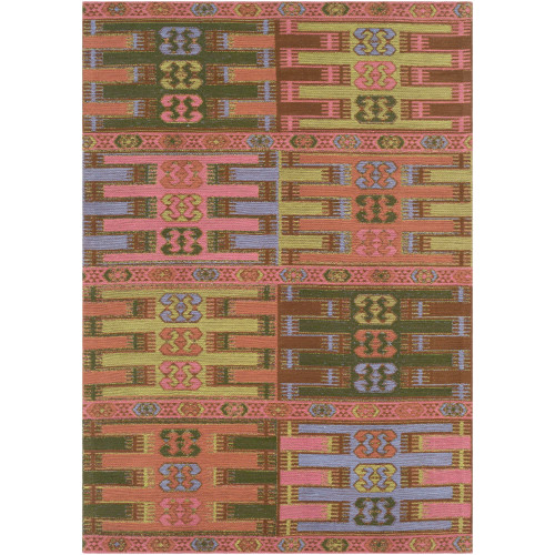 5' x 7.5' Bohemian Style Pale Pink and Olive Green Rectangular Area Throw Rug - IMAGE 1