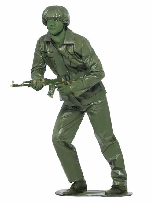"40"" Olive Green Toy Soldier Men Adult Halloween Costume - Large - IMAGE 1"