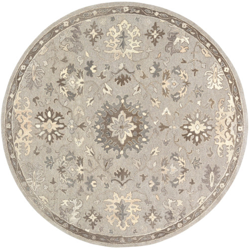 9.75' Floral Design Taupe and Black Round Area Throw Rug - IMAGE 1