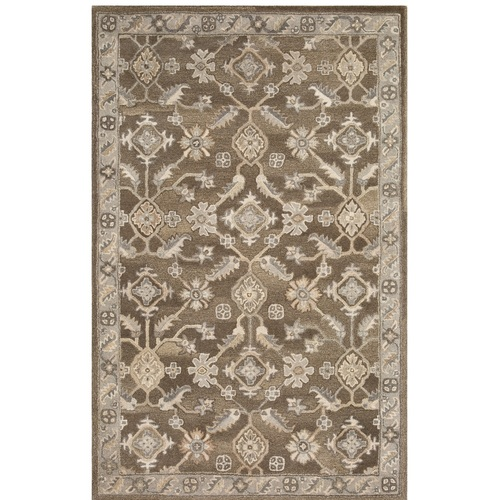 5' x 8' Persian Floral Design Dark Brown and Gray Rectangular Hand Tufted Area Rug - IMAGE 1