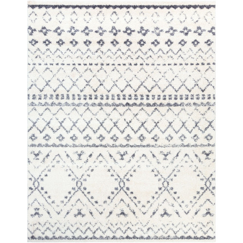 "5'3"" x 7'3"" Distressed White and Gray Moroccan Patterned Rectangular Machine Woven Area Rug - IMAGE 1"