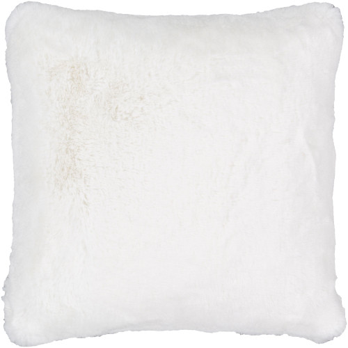 """20"""" Snow White Solid Square Throw Pillow with Knife Edge - Poly Filled - IMAGE 1"""