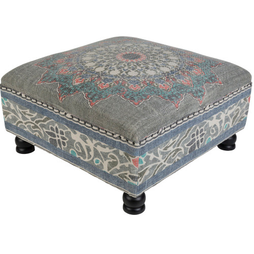 """32"""" Blue and Gray Mandala Design Cotton and Wooden Foot Stool Ottoman - IMAGE 1"""