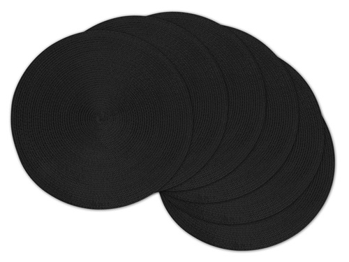 """Set of 6 Black Woven Round Placemats 15"""" - IMAGE 1"""