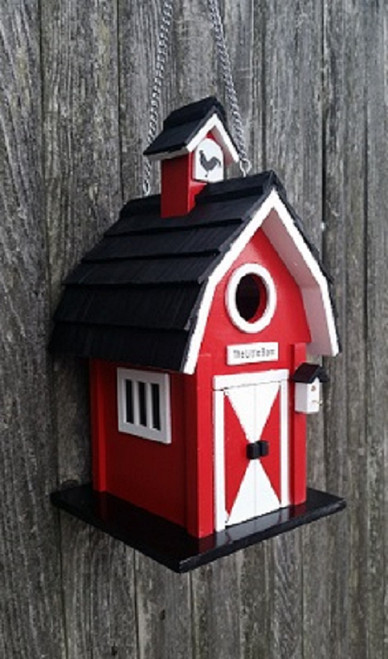 """11.5"""" Red and Black Little Barn Outdoor Garden Birdhouse - IMAGE 1"""