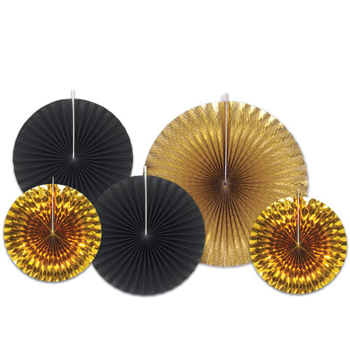 """Club Pack of 12 Gold and Black Paper Foil Fans Hanging Decors 16"""" - IMAGE 1"""