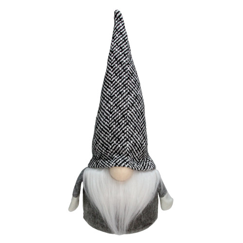"10.75"" Gray and White Tweed Gnome Table Top Christmas Decoration - IMAGE 1"