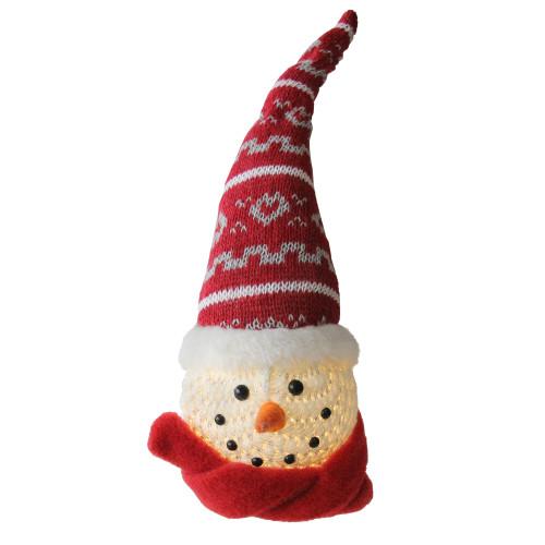 "11.75"" LED Lighted Santa Snowman Head Christmas Table Top Decoration - IMAGE 1"