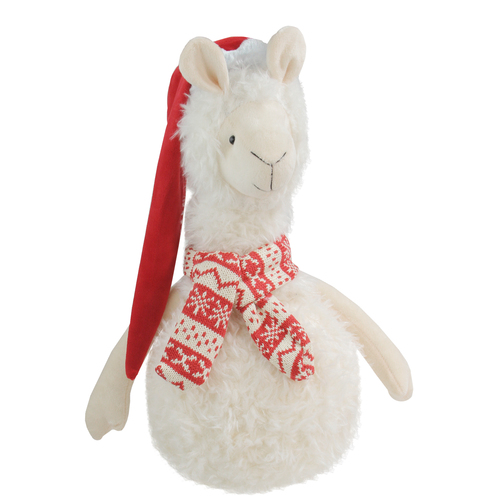 """17.75"""" White Llama with Red Santa Hat Christmas Table Top Decoration - IMAGE 1"""