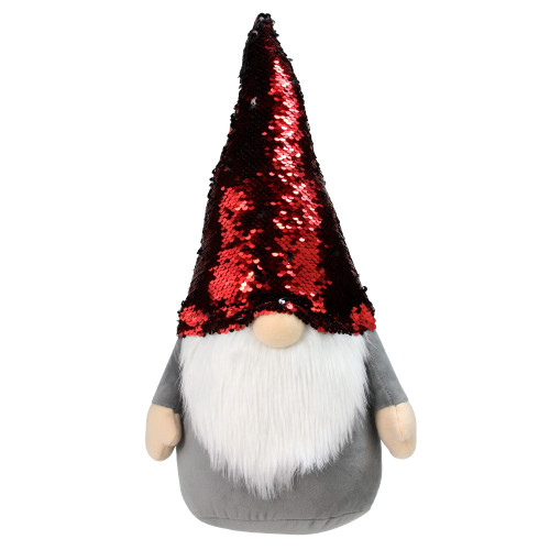 """18"""" Gnome with Red and Black Flip Sequin Hat Christmas Decoration - IMAGE 1"""