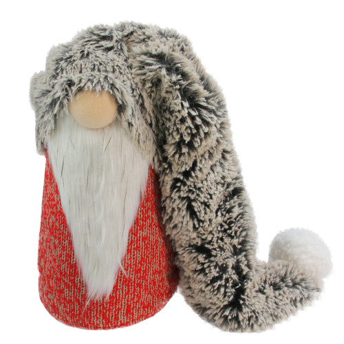 """16"""" Red, Grey and White Long Fluffy Hat Gnome Christmas Decoration - IMAGE 1"""