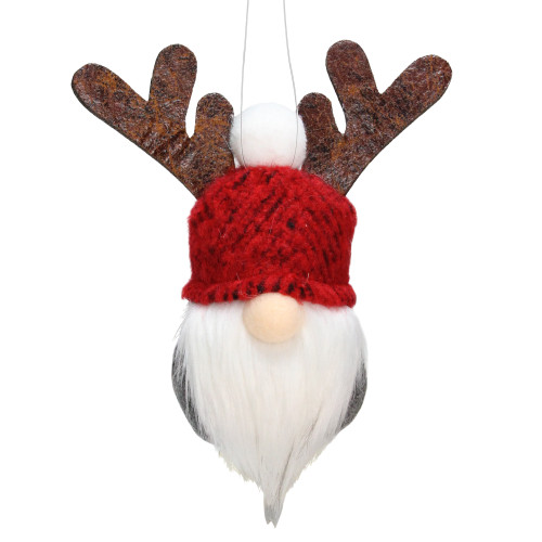 """5"""" Red and Gray Santa Gnome with Moose Antlers Christmas Ornament Decoration - IMAGE 1"""