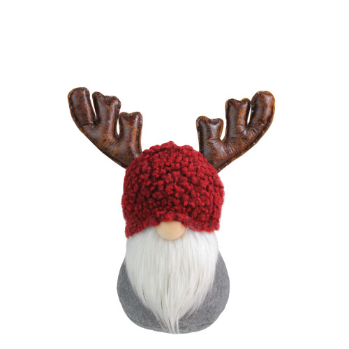 11 Gray and Red Santa Gnome with Moose Antlers Christmas Table Top Decoration - IMAGE 1