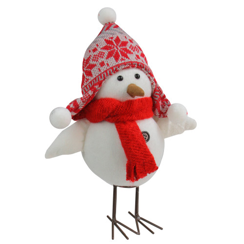 """12"""" White Winter Bird Wearing Nordic Hat and Scarf Table Top Christmas Decoration - IMAGE 1"""