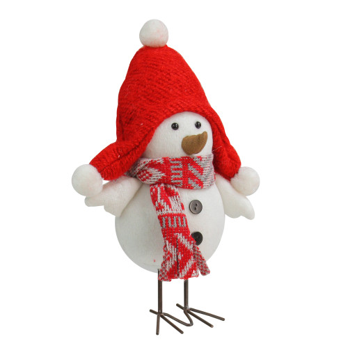 """9"""" White Winter Bird Wearing Red Hat and Scarf Table Top Christmas Decoration - IMAGE 1"""