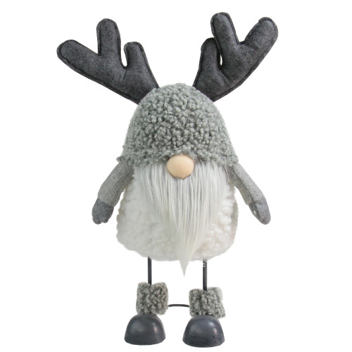 """15"""" Grey Bouncy Gnome with Antlers Tabletop Christmas Decoration - IMAGE 1"""