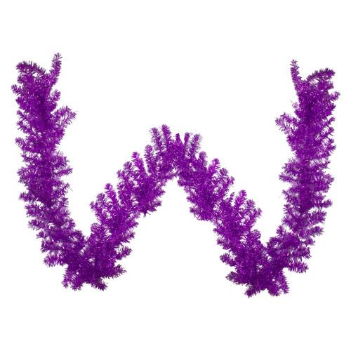 "9' x 12"" Metallic Purple Tinsel Artificial Christmas Garland - Unlit - IMAGE 1"