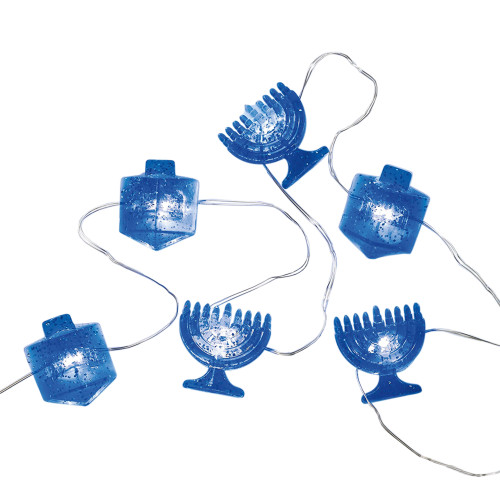 20 Battery Operated Blue Micro LED Hanukkah Mini String Lights - 6 ft Silver Wire - IMAGE 1