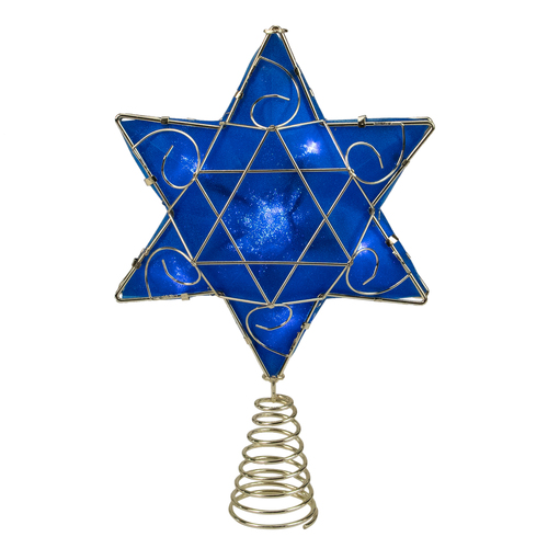 "Blue and Gold Colored Hanukkah Star LED Tree Topper 11.5"" - IMAGE 1"