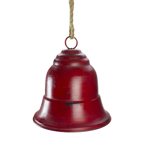 """9.75"""" Red and Brown Rustic Hanging Christmas Bell Ornament - IMAGE 1"""