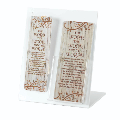 """8"""" White and Brown """"THE WORD THE WOOD and THE WORLD"""" Display with Easel Back - IMAGE 1"""