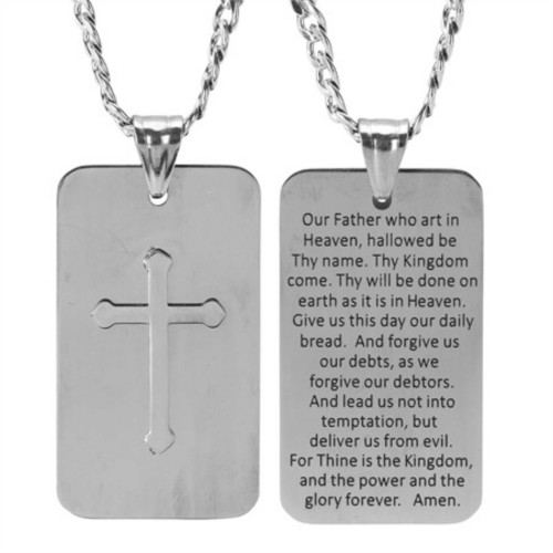 """24"""" Gray and Black Men Lord's Prayer Handsome Dog-tag Necklace - IMAGE 1"""