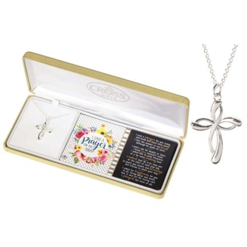 "18"" Silver Prayer Ribbon Cross Pendant Chain Necklace - IMAGE 1"
