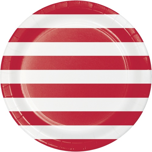 """Club Pack of 96 Red and White Striped Round Dinner Plates 8.75"""" - IMAGE 1"""