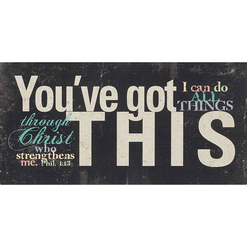 """10"""" Black and White Self-confidence Biblical Verse Tabletop Plaque - IMAGE 1"""