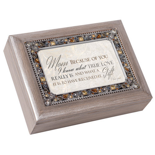 "8"" Brown and Beige Mom's Love Themed Rectangular Music Box - IMAGE 1"