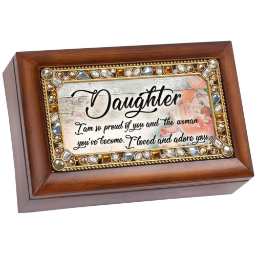 """6"""" Brown and Pink Amber Boarded Rectangular """"Daughter"""" Printed Musical Box - IMAGE 1"""