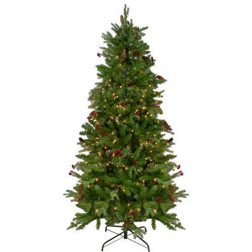 6.5' Pre-Lit Mixed Winter Berry Pine Artificial Christmas Tree - Clear Lights - IMAGE 1