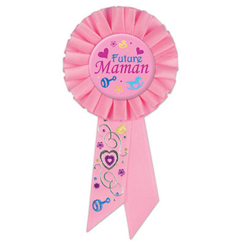 "Set of 6 Pink Future Maman (Mom To Be) Rosette Ribbon 6.5"" - IMAGE 1"