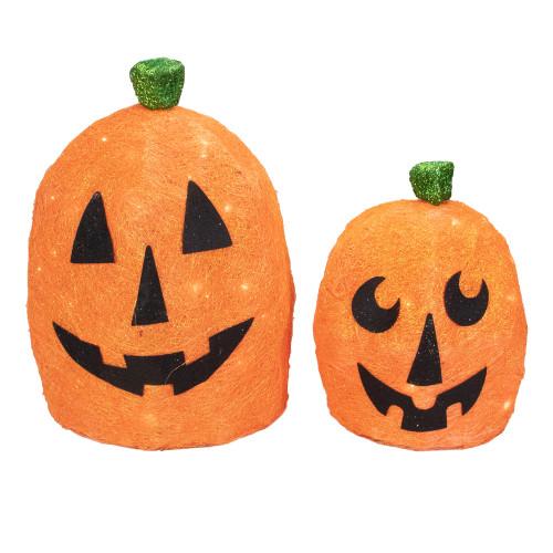 Set of 2 Orange Lighted Sisal Pumpkins Outdoor Halloween Decorations - IMAGE 1