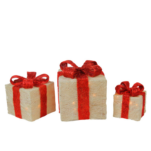 Set of 3 Cream Sisal Lighted Gift Boxes with Red Bows Outdoor Christmas Decorations - IMAGE 1