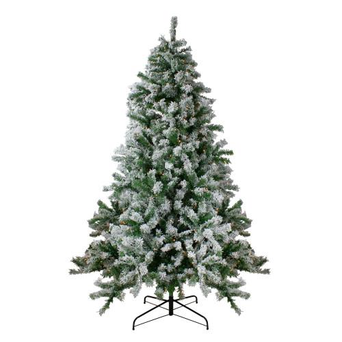 7.5' Pre-Lit Medium Flocked Winter Park Fir Artificial Christmas Tree - Warm Clear LED Lights - IMAGE 1